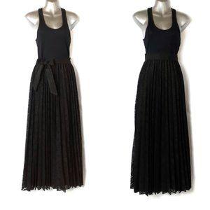 Gorgeous Vintage Black Lace Pleated Maxi Skirt SM